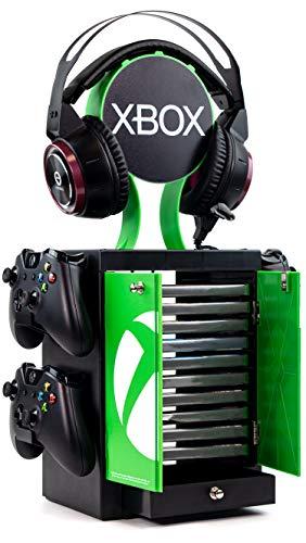 Numskull Offizieller Xbox Series X Spiele-Aufbewahrungsschrank, Kopfhörerständer und Controller-Halter – für 10 Spiele oder Blu-Ray Disc-Hüllen, 4 Xbox-Controller