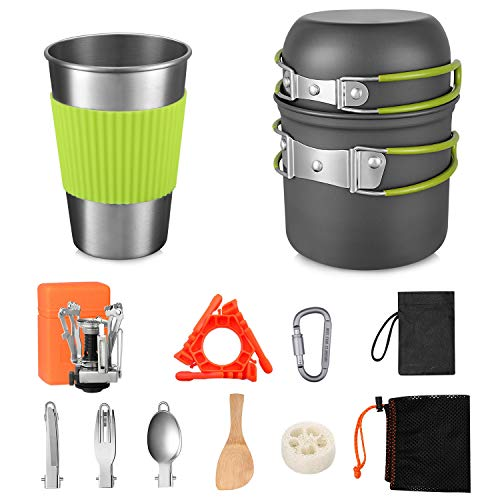G4Free Camping Cookware Mess Kit 13 Pieces Hiking Backpacking Picnic Cooking Pot Pan, Mini Stove, Canister Stand Tripod Tank Bracket, Stainless Steel Cup, Knife Spoon Set (13PCS with Tripod)