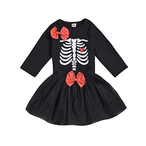 Julhold Peuter Baby Meisjes Leuke Mode Halloween Schedel Print Lange Mouw Slanke Katoenen Toppen+Strik Rok Set 0-5 Jaar