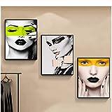 ASLKUYT Xinqi Nordic abstrakte leinwand malerei Frauen Gesichts schönheit Kunst Bild für Wand persönlichkeit Hause Wohnzimmer Wand dekor gemälde-50x70 cm kein Rahmen