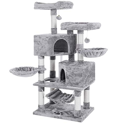 BEWISHOME Multi-Level Cat Tree Condo with Sisal Scratching Posts, Perches, Houses, Hammock and Baskets, Cat Tower Furniture Kitty Activity Center...