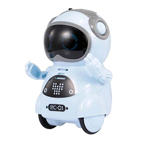 Intelligent Mini Pocket Robot Walk Music Dance Light Reconocimiento de voz Juguete para Niños (Azul)