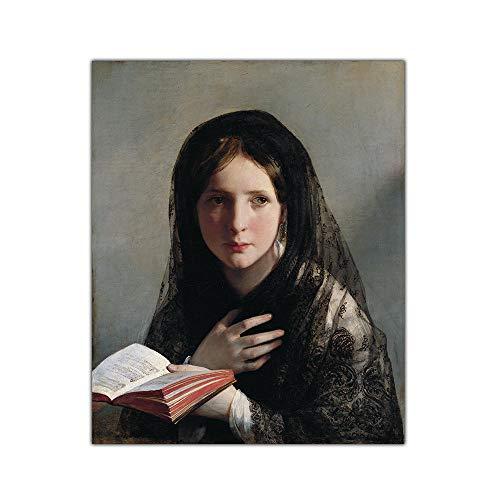 VCFHU Friedrich Von Amerling Peinture à l'huile sur Toile, Perdue dans Ses RêVes, Affiches Murales De Portraits d'art, D'œUvres d'art, Decoration D'IntéRieur Moderne 60x70cm Pas De Cadre