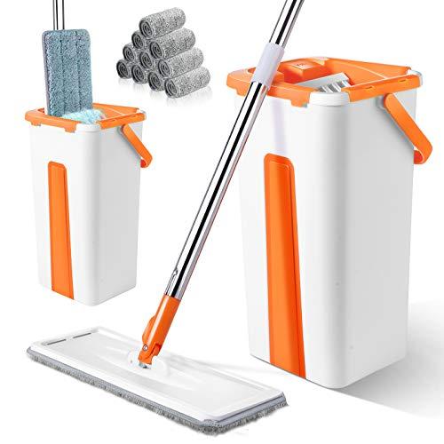 Masthome Mopp and Eimer Set mit 10 Waschbaren Mopp Pads, Mikrofaser-Flachmopp mit 2 in 1 Reinigungseimer für Laminat, Holzboden, Fliesen