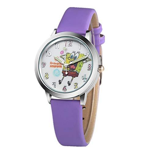 WZLDP Beliebte Spongebob Abbildung Karikatur-Kind-Uhr-Mode-Pu-Quarz-Sport-Uhr-Bunte (Color : Purple)