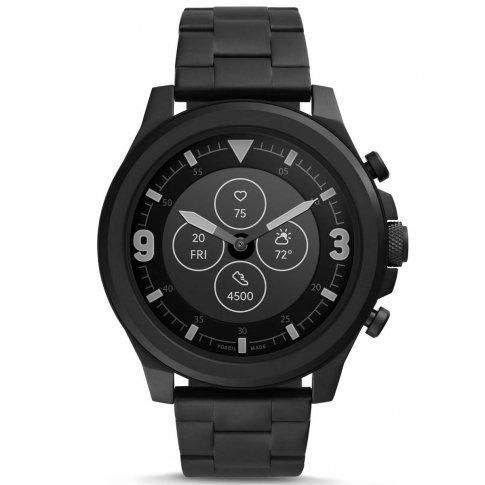 Fossil HR Latitude - Reloj inteligente híbrido con correa de acero inoxidable negro para hombres FTW7021