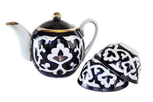 ORIGINAL Popular Uzbek 3-Piece Floral Tea Set 27-Ounce Teapot With Two 7-Ounce Cups Dark Blue And White Uzbekistan Ceramic Traditional Products NOT FAKE - FREE Uzbek Food Recipe Ebooks Included
