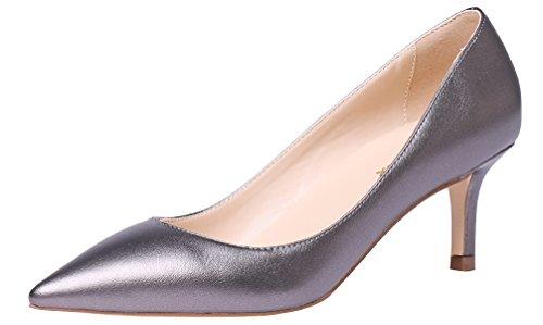 AOOAR Damen Kitten-Heel Elegante Silber-Grau PU PumpsSchuhe EU 43