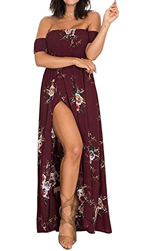 AM CLOTHES Summer Beach Dresses for Wedding Guest Maxi Dresses Off Shoulder Engagement Floral Dress X-Large Wine Red