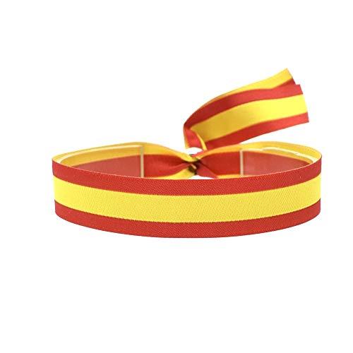 BDM Pulsera de Tela con la Bandera de España y Cierre Ajustable para Hombre o Mujer. Ancho 15 mm.