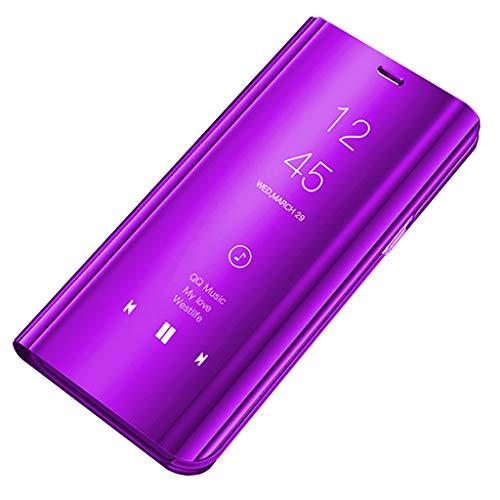 Bakicey Samsung Galaxy A8 Plus (2018) Hülle, Samsung Galaxy A8(2018) Leder Handyhülle Spiegel Schutzhülle Flip Tasche Case Cover für Samsung Galaxy A8 Plus (2018) (A8(2018), Flieder)