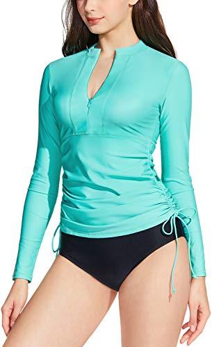 TSLA Camiseta de natación para mujer UPF 50+ con cremallera, protección contra...