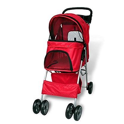 vidaXL Folding Pet Stroller Red Dog Cat Travel Carrier Transport Trolley Pram 3