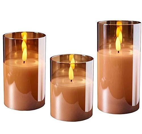 Wunderschöne LED Kerzen im Glas - 3er Set - Timer - Hochwertig & Realistisch - Kerzenset (Amber)