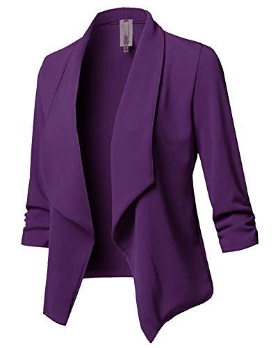 Damen Cardigan Blazer, Wasserfall Oberteil, Open Front, Jacke, Mantel Langarm, Loose Violett 4XL