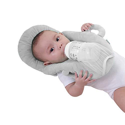 Baby Detachable Feeding Pillows Anti Roll Prevent Flat Self Feeding Nursing Pillow Portable Breast Feeding Pillows (Gray)