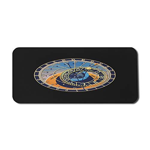 Lunarable Occult Mouse Pad for Computers, Astronomical Clock Prague Orloj Czech Republic Gothic Heritage, Rectangle Non-Slip Rubber Gaming Mousepad X-Large, 35' x 15', Charcoal Grey and Multicolor