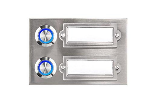 HUBER LED Klingeltaster 12222, 2-fach aufputz/unterputz, rechteckig, Echtmetall, LED Lichtfarbe blau