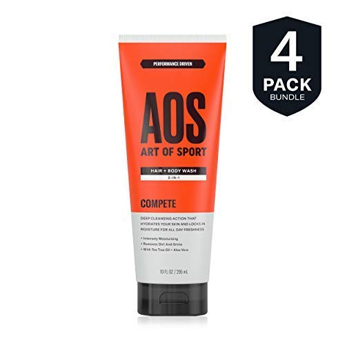 Art of Sport Men's Body Wash with Tea Tree Oil and Aloe Vera, Compete Scent, Dermatologist-Tested, Paraben-Free, Hypoallergenic, Moisturizing Shower Gel (4 pack)