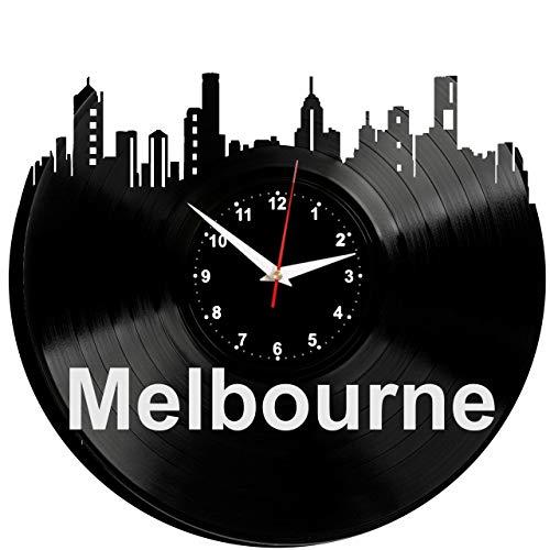 EVEVO Melbourne Wanduhr Vinyl Schallplatte Retro-Uhr Handgefertigt Vintage-Geschenk Style Raum Home Dekorationen Tolles Geschenk Uhr Melbourne