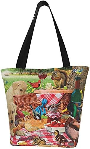 Picnic Raiders Bolsa de lona para mujeres, Bolsa de comestibles reutilizable, Linda Bolsa, Bolsa de compras impresa, Bolsas de playa, Bolsas de regalo, Bolsas de dama de honor