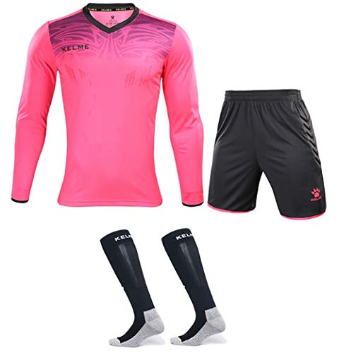 Goalkeeper Jersey Uniform Bundle - Set Includes Goalkeeper Shirt, Shorts and Socks - Professional Soccer Brand with Protection Pads on Shirt and Shorts. (Kids 6, Pink)