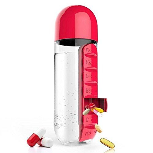 WOOAI Botella de Agua de plástico para Deportes de Gimnasio, 600 ML, Incluye Pastillero, Organizador, Botella a Prueba de Fugas, Vaso para Exteriores, Color Rojo