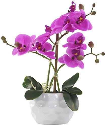 Decoline Künstliche Orchidee 33cm - Blüten lila - Keramik Übertopf weiß
