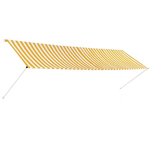 vidaXL Markise Gelb Weiß 400x150cm Sonnenschutz Beschattung Windschutz Garten