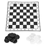 GYPPG Schachprüfer Set, 33 * 33cm Jumbo Checker Board Bodenmatte Spiel mit riesigen Stücken...