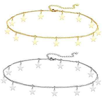 Long tiantian Gold Star Choker Necklace for Women Cute Necklace for Teen Girls Trendy Star Necklace Choker Adjustable  Gold+Sliver