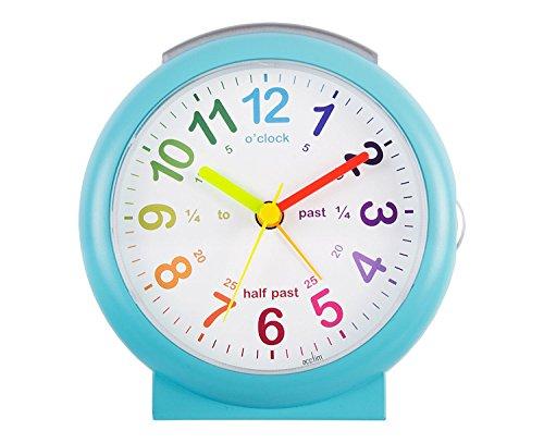 Acctim 15219 'Lulu 2' Blue Time Teaching Bold Sweeping Seconds Quartz Alarm Clock