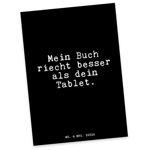 Mr. & Mrs. Panda Postkarte mit Spruch Mein Buch riecht Besser als Dein Tablet.