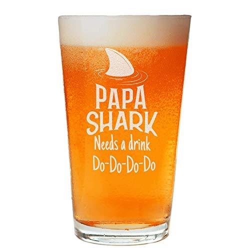 Papa Shark Beer Pint – Regalo del día del padre – para papá
