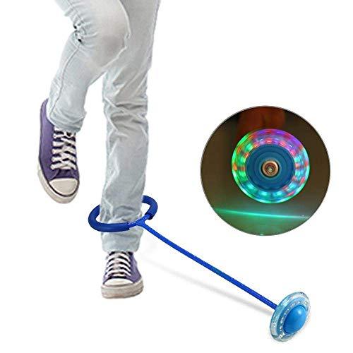 Bollaer, anello per saltare con luce a LED per bambini, colorato, per saltare alla caviglia, colore: blu