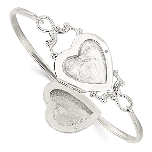 925 Sterling Silver Heart 22mm Locket Flexible Bangle Bracelet Cuff Expandable Stackable Hook Clasp Fine Jewelry For Women Gifts For Her