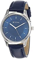 Titan Workwear Leather Band Analog Watch for Women - Navy and Silver