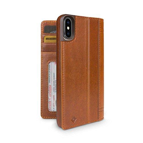 Preisvergleich Produktbild Twelve South Journal für iPhone X ,  Leder Kartenfächer und Display-Ständer (Cognac)