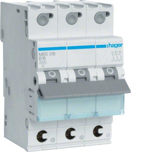 Hager MBS316 circuit breaker - circuit breakers (25-60 °C, -25-80 °C)