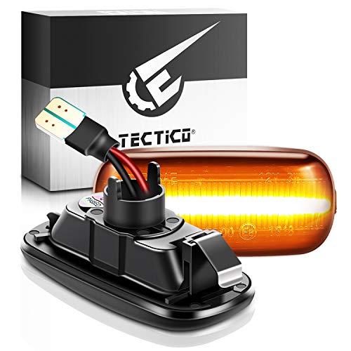 TECTICO indicatori di direzione,freccia auto,Indicatori di direzione laterali ambra 18 SMD con funzione dinamica per A3 S3 8P A4 S4 RS4 B6 B7 B8 A6 S6 RS6 C5 C7,2 pezzi