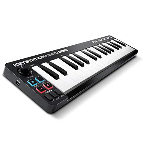 M-Audio Keystation Mini 32 MK3 - Mini Teclado Controlador MIDI/USB de 32 teclas Ultra portátil con ProTools First, M-Audio Edition y Xpand!2 de AIR Music Tech
