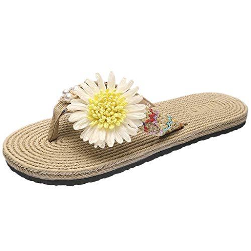 Sandali Pantofole Scarpe Basse da Donna Infradito Punta Aperta Scarpe comode in Paglia (36,Giallo)