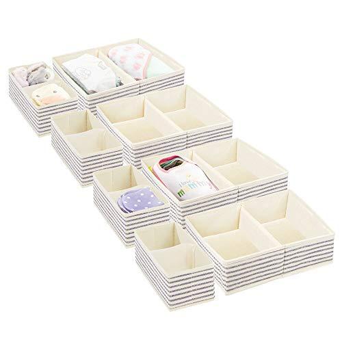 mDesign Juego de 4 Cajas de almacenaje para Cuarto Infantil y Ropa de bebé – Cesta organizadora Plegable en 2 tamaños – Organizador de armarios de Fibra sintética Transpirable – Crudo/Azul