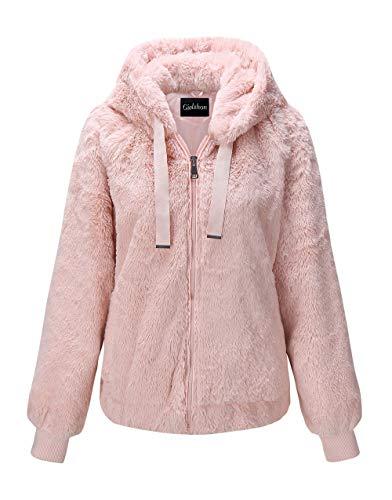 Giolshon Chaqueta de Piel sintética para Mujer, el Abrigo con Capucha Rosa XX-Grande