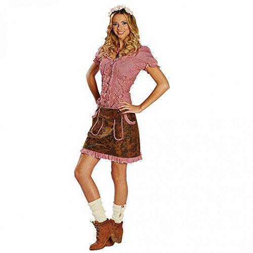 Damen Trachtenrock Gr. 34- 44 Lederoptik braun Oktoberfest Kostüm Rock Bayern (40)