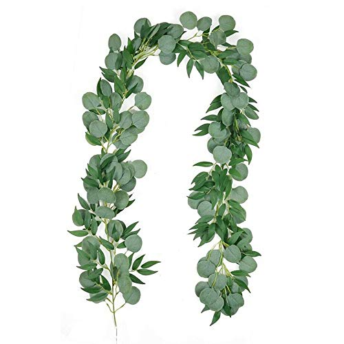 1 * Guirnalda de eucalipto, Caña de simulación de Seda Artificial Hojas Colgantes Vides para la decoración del Banquete de Boda de cumpleaños de la Puerta de la Pared del jardín del hogar - 2 Metros