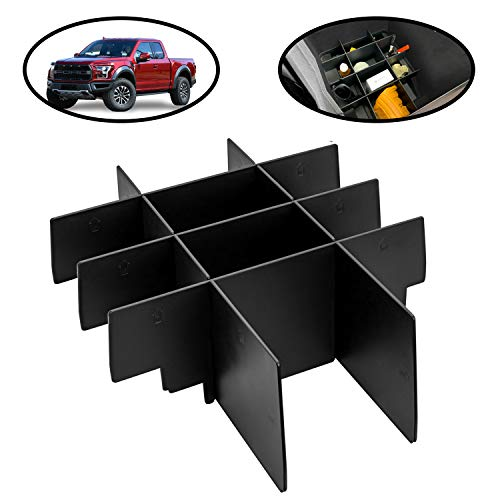 lebogner Center Console Organizer Divider Compatible with Ford F-150, Armrest Console Interlocking Insert Dividers, Car Accessories for Years 2015-2021 for All Bucket Seat Models, Black