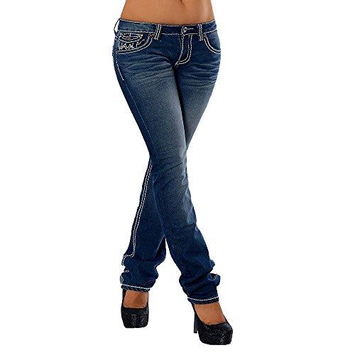 Damen Bootcut Jeans Hose Damenjeans Hüftjeans Gerades Bein Dicke Naht Nähte H922, Größen:42 (XL), Farben:Dunkelblau