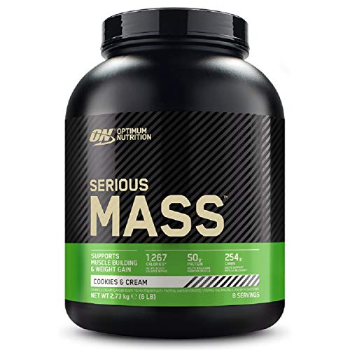 Optimum Nutrition Serious Mass Protein Powder High Calorie Mass Gainer with Vitamins, Creatine Monohydrate and Glutamine, Cookies and Cream, 8 Servings, 2.73 kg, Packaging May Vary