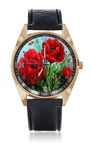 Choeter Opium Poppy - Reloj de Pulsera Personalizable para Hombre y Mujer, Resistente al Agua, Acero Inoxidable, Cuarzo con Correa de Piel reemplazable